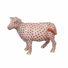 Herend Porcelain Fishnet Figurine of a Cow